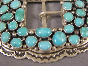 High Grade Stormy Mountain Turquoise Belt Buckle By Native American Artist, Larson Lee Arizona