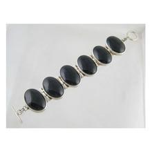 Sterling Silver Large Onyx Gem Link Bracelet