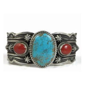 Handmade Number 8 Turquoise & Mediterranean Coral Bracelet by Darryl Becenti, Navajo