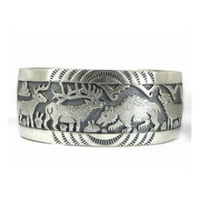 Sterling Silver Deer, Elk, Bear & Wolf Bracelet by Freddy Charley, Navajo