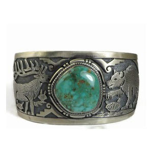 Emerald Valley Turquoise Elk & Bear Bracelet by Freddy Charley, Navajo, Turquoise Jewelry for Men