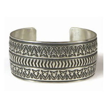 Handmade Sterling Silver Bracelet by Sunshine Reeves, Navajo