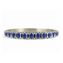 Sterling Silver Lapis Bangle Bracelet by Happy Piaso, Navajo