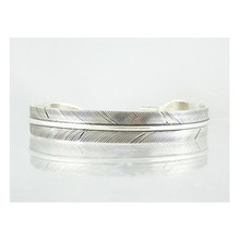 "Sterling Silver Feather Bracelet 3/8"" by Lena Platero, Navajo"
