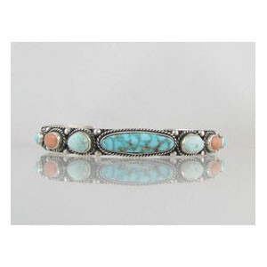 Natural Turquoise Mountain & Coral Bracelet