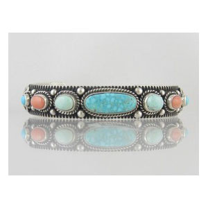 Natural Turquoise Mountain & Coral Gem Bracelet