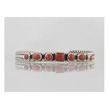Sterling Silver Mediterranean Coral Bracelet (BR0823)