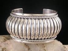 "Sterling Silver Cuff Bracelet 1 1/2"" by Tom Charley"