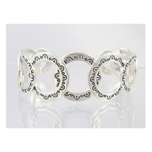 Native American Sterling Silver Stamped Circle of Life Bracelet