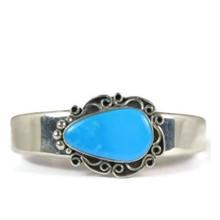 Sterling Silver Kingman Turquoise Bracelet by Raymond Coriz, Santo Domingo