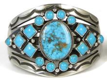 Kingman Turquoise & Sleeping Beauty Turquoise Cluster Bracelet by Aaron Toadlena