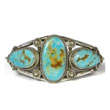 Three Stone Natural Royston Turquoise Bracelet by Fritson Toledo