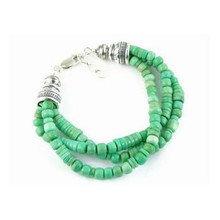 Three Strand Variscite Bead Bracelet - Adjustable Length