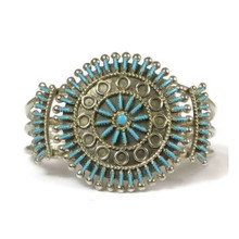 Turquoise Needle Point Cluster Bracelet by Philander Gia, Zuni Indian Jewelry