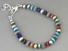 Multi Gemstone Silver Bead Bracelet by Geneva Apachito (BR2800)