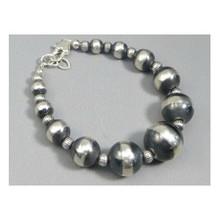Graduated Large Silver Bead Bracelet