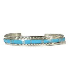 Kingman Turquoise Inlay Bracelet by Thomas Francisco