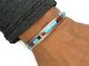 Kingman Turquoise, Jet & Coral Inlay Bracelet by Thomas Francisco