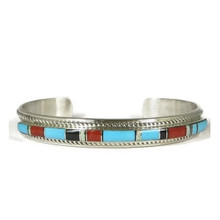Kingman Turquoise, Jet & Coral Inlay Bracelet by Thomas Francisco