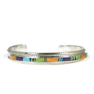 Multi Gemstone Inlay Bracelet by Thomas Francisco