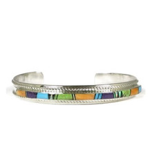 Multi Gemstone Inlay Bracelet by Thomas Francisco