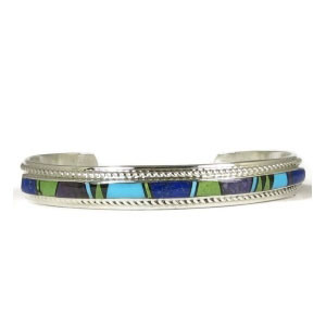 Multi Gemstone Inlay Bracelet by Thomas Francisco, Navajo