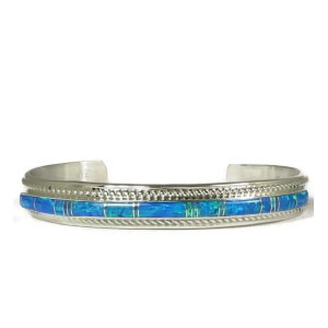 Blue Opal Inlay Bracelet by Thomas Francisco