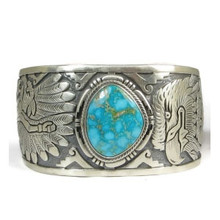 Beautiful Water Web Kingman Turquoise Eagle & Eagle Kachina Dancer Bracelet by Freddy Charley