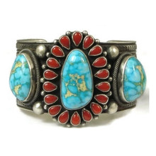 Handmade Turquoise & Coral Cluster Bracelet by Nelvin Burbank, Navajo