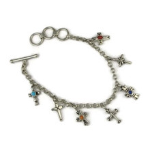 Multi Gemstone Silver Cross Charm Bracelet
