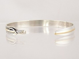 "12k Gold & Sterling Silver Feather Bracelet 1/4"" by Lena Platero, Navajo"