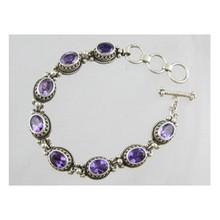 Sterling Silver Amethyst Gallery Wire Link Bracelet