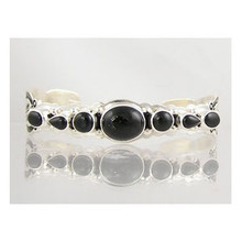 Sterling Silver Onyx Bracelet with Arrows