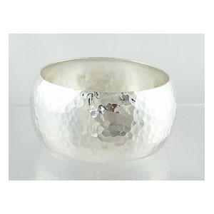 "Hammered Sterling Silver Bangle Bracelet 1"" by Juanita Nez"