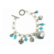 Turquoise & Gemstone Silver Heart Charm Bracelet with Toggle Clasp