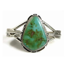 Emerald Valley Turquoise Silver Feather Bracelet by John Nelson, Navajo