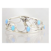 Sterling Silver Opal Bracelet - Blue