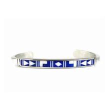 Sterling Silver Lapis Inlay Bracelet by Ervin Hoskie, Navajo