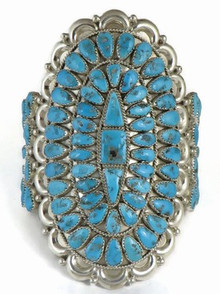 Sleeping Beauty Turquoise Cluster Bracelet by Justin Wilson, Sr., Navajo