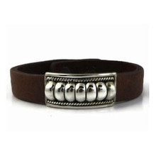 Sterling Silver & Leather Bracelet by Tom Charley (BR3720)