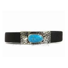Sterling Silver Turquoise Leather Bracelet (BR3723)