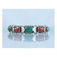 Sterling Silver Turquoise & Coral Bracelet - Old Pawn