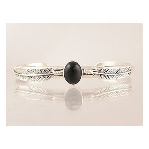 Sterling Silver Onyx Feather Bracelet