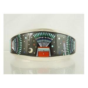 Micro Inlay Night Scene Bracelet by Ervin Tsossie