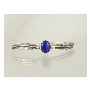 Sterling Silver Lapis Feather Bracelet