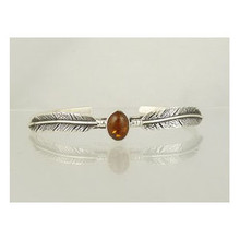 Sterling Silver Amber Feather Bracelet