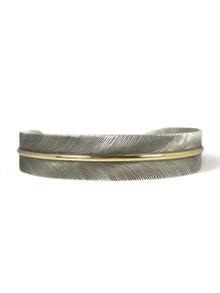 "12k Gold & Sterling Silver Feather Bracelet 1/2"" by Lena Platero, Navajo"