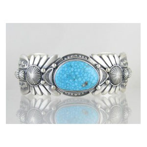 Natural Webbed Kingman Turquoise Bracelet - Large - Freddy Charley