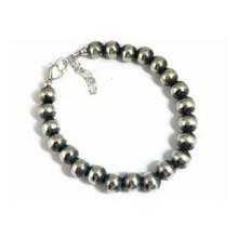 Antiqued 8mm Silver Bead Bracelet