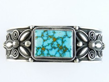 Sterling Silver Water Webbed Turquoise Mountain Gem Bracelet by Andy Cadman, Navajo - Mens Turquoise Bracelet